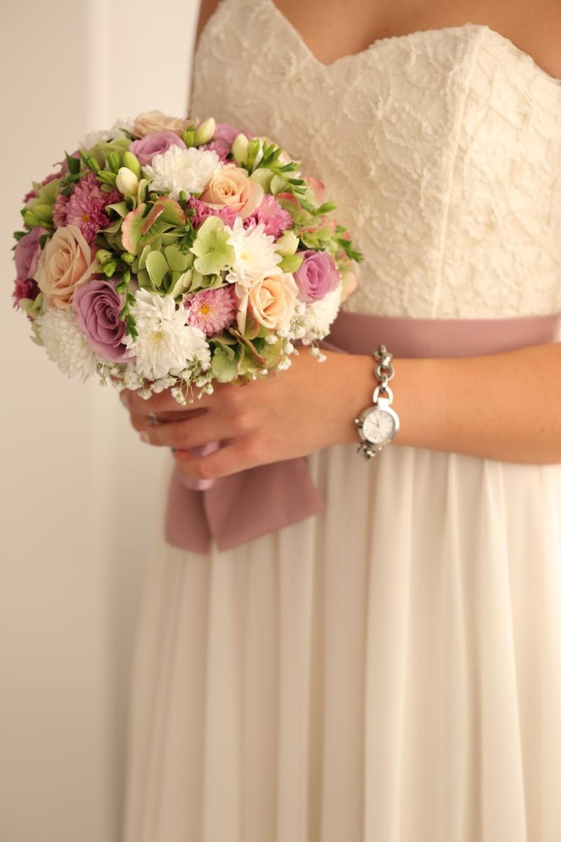 buchet, mireasa, rochie, eleganta, mână, mâinile, ceas de mână, flori, nunta, dragoste