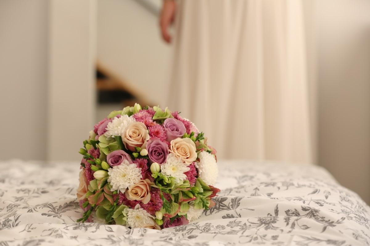 침실, 부케, 신부, 꽃, 핑크, 웨딩, 꽃, 종교적, 사랑, 배열