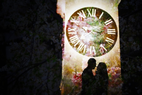 analog clock, boyfriend, girlfriend, photomontage, silhouette, together, togetherness, clock, outdoors, time