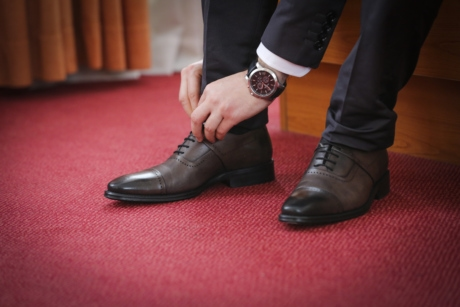 bedroom, businessman, rug, shoelace, shoes, wristwatch, leather, pair, shoe, fashion