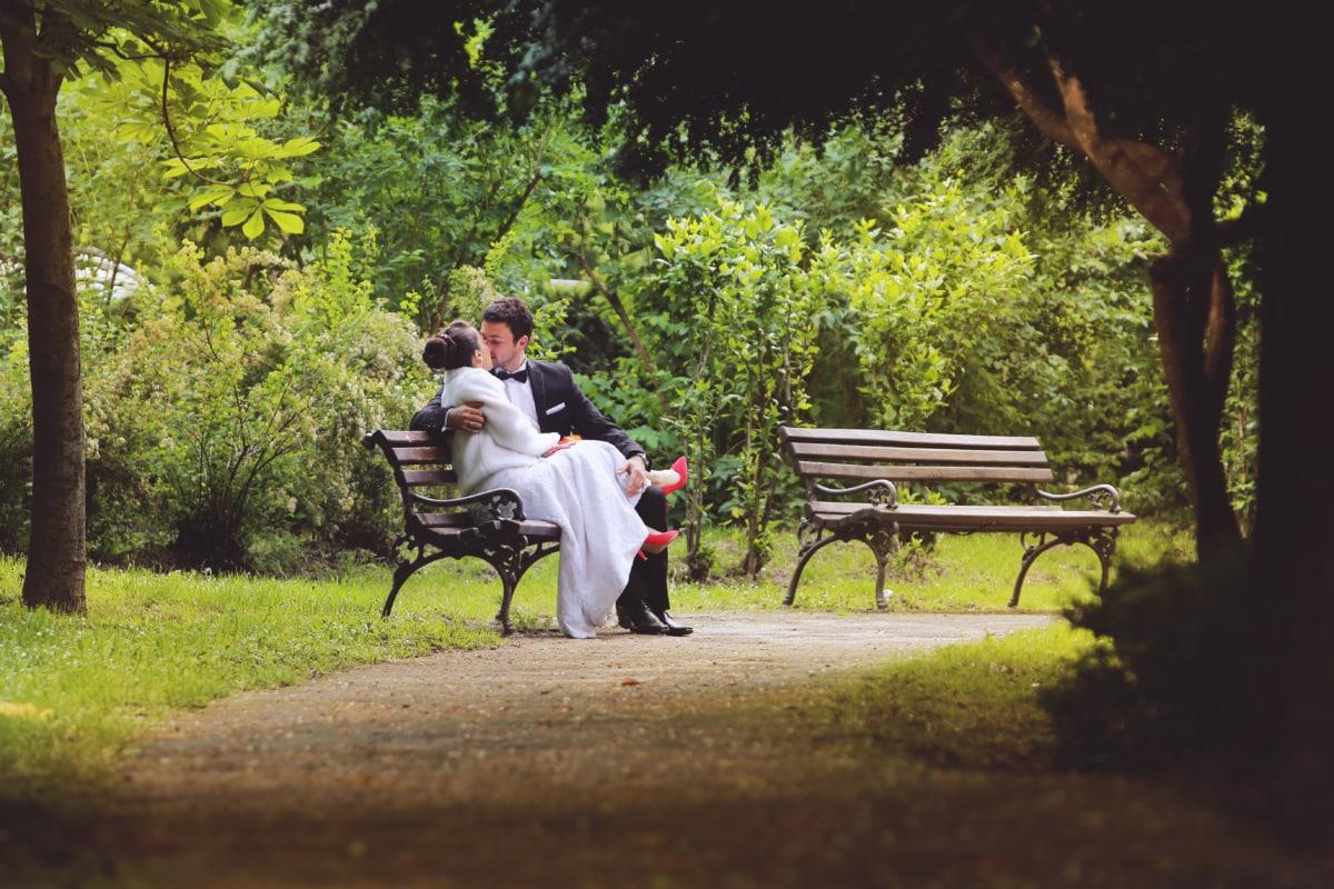 bench, bride, dress, gorgeous, kiss, suit, park, seat, furniture, outdoors