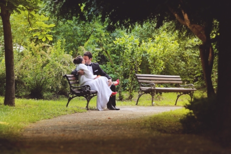 bench, bride, dress, gorgeous, kiss, suit, park, seat, furniture, outdoors