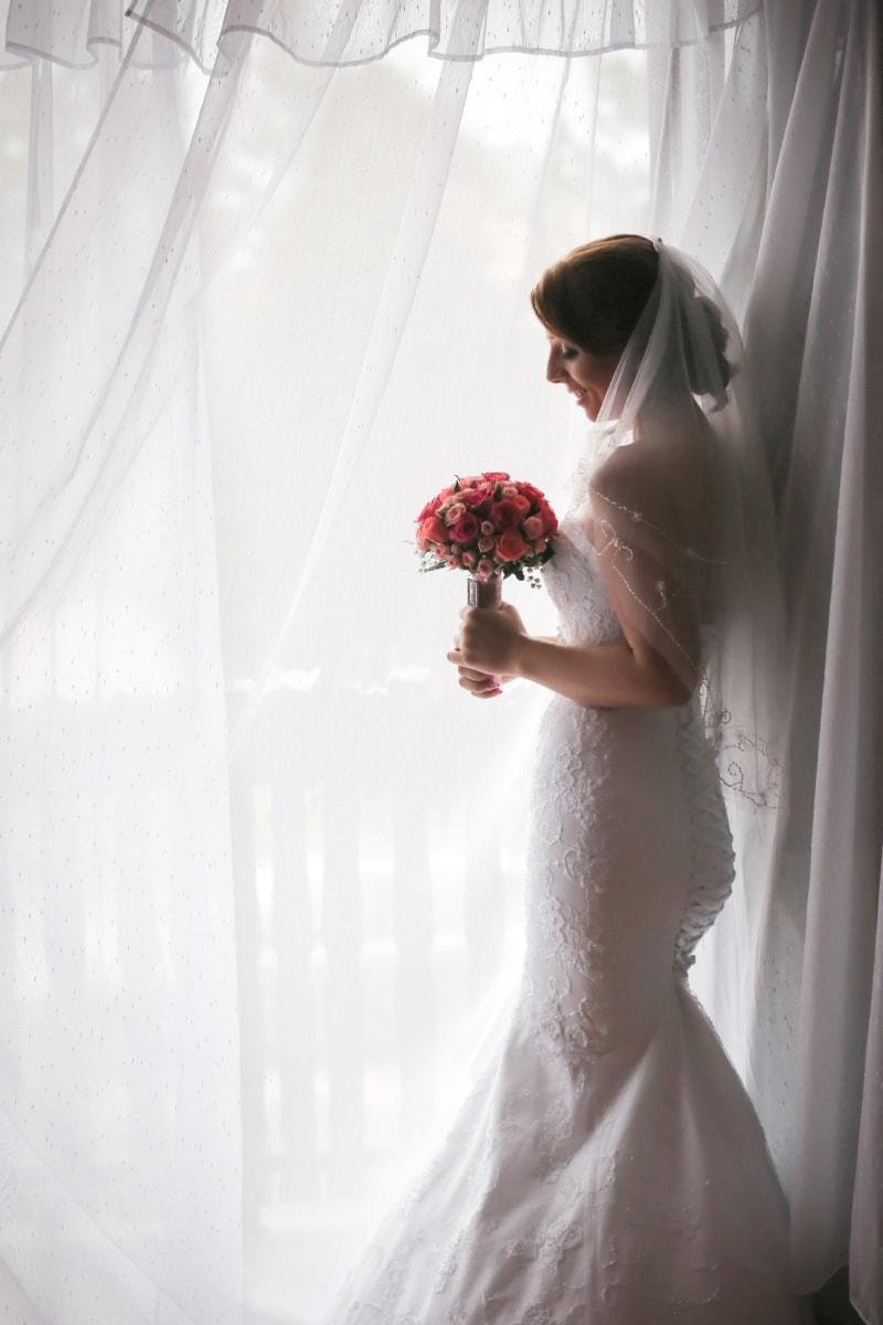menyasszony, függöny, arc, boldogság, csinos, mosolyogva, Napfény, fiatal nő, esküvő, ruha