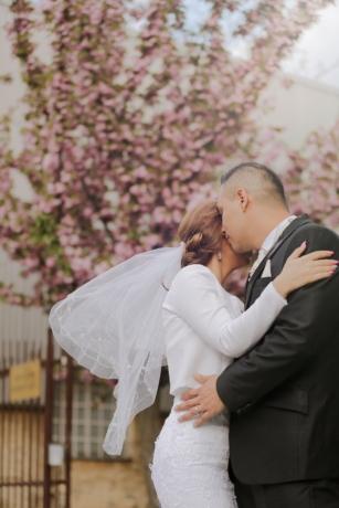 булката, младоженеца, красив, прегръдка, Любов, пролетно време, на открито, двойка, мъж, сватба