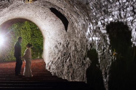 bride, groom, light, love, romantic, shadow, stairs, tunnel, hole, people