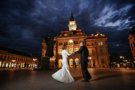 bride, cityscape, elegance, groom, hands, handsome, landmark, moonlight, walking, architecture