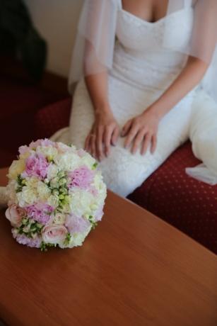 等待, 新娘, 安排, 花, 装饰, 束, 婚礼, 花, 爱, 粉色