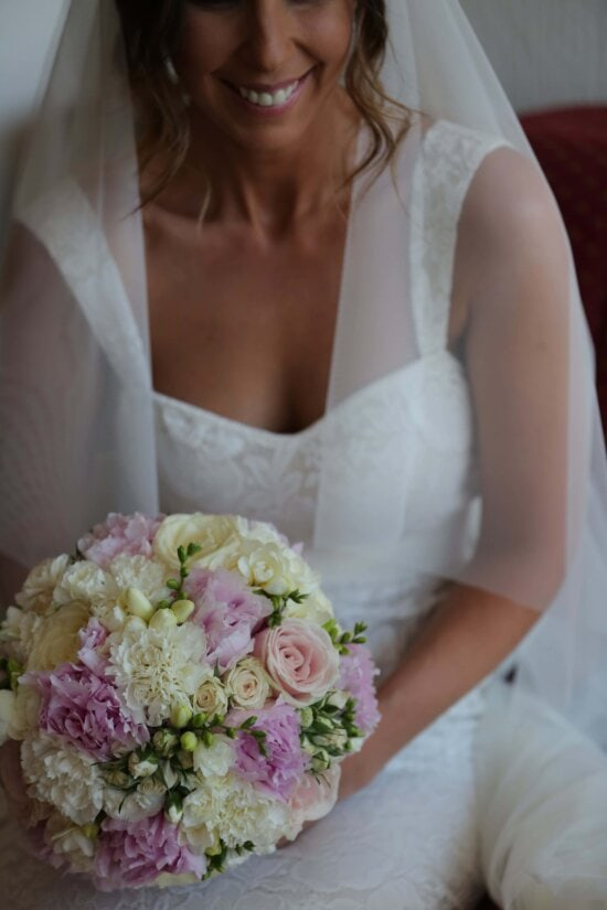 dress, gown, hairstyle, happiness, smile, wedding, bride, saint, marriage, love
