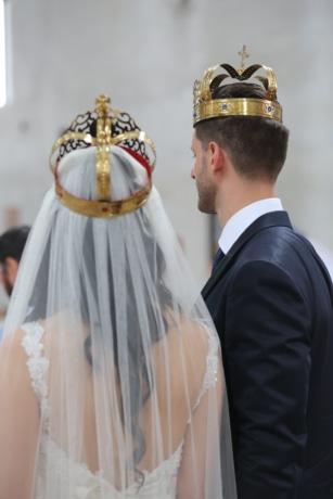 christianity, church, crown, tradition, wedding, groom, bride, dress, veil, woman