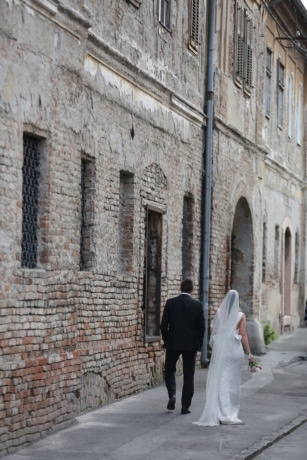 bricks, bride, groom, happiness, street, walking, wall, stone, architecture, building