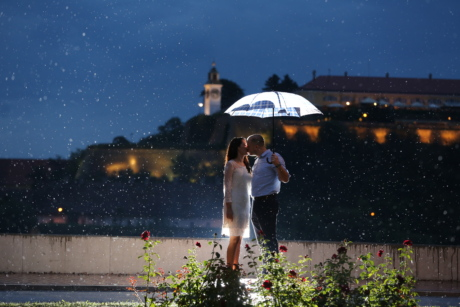 evening, kiss, love, moonlight, pretty girl, rain, romantic, umbrella, outdoors, summer