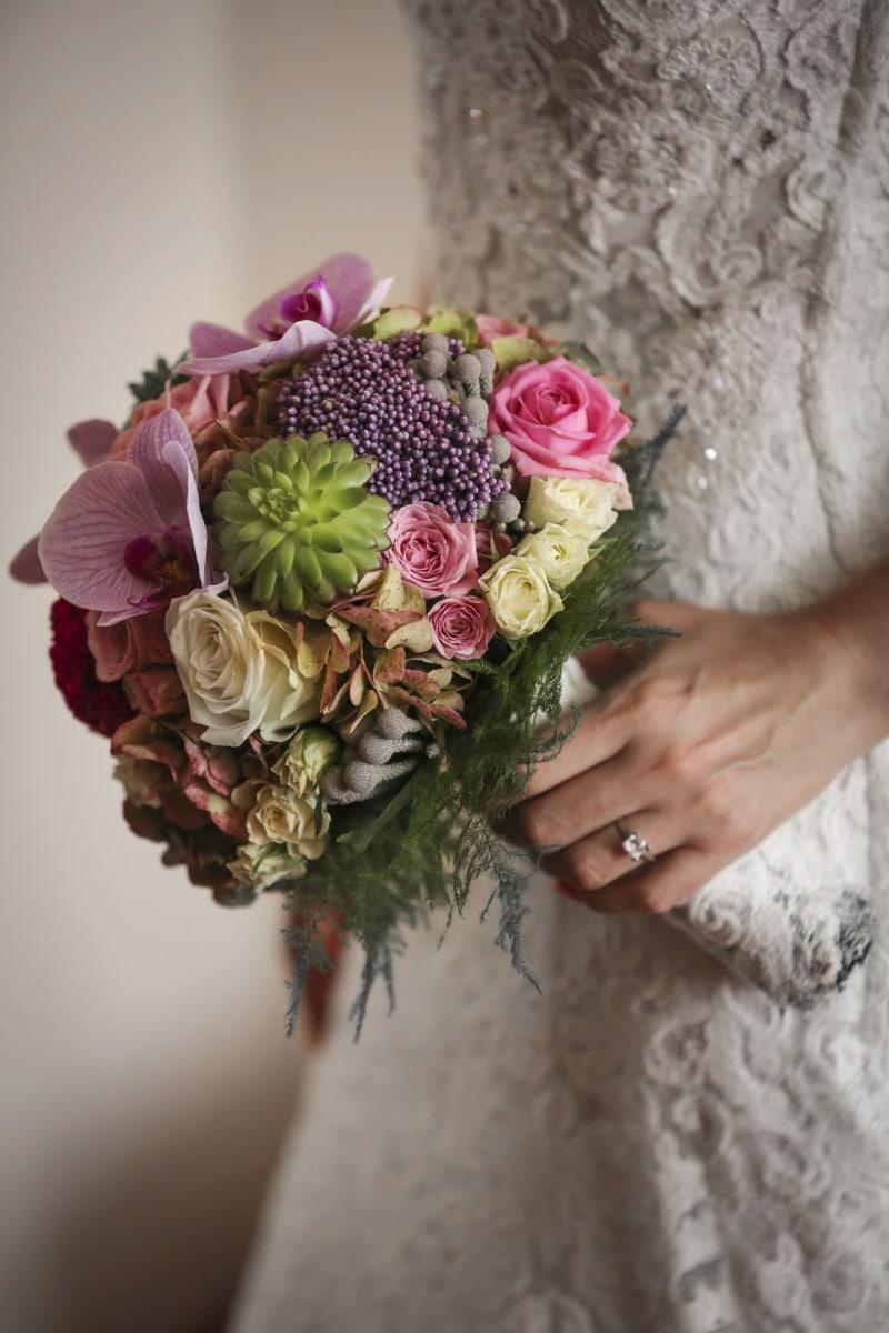 buket, dekoration, kjole, elegance, hånd, ægteskab, bryllup, vielsesring, kone, järjestely