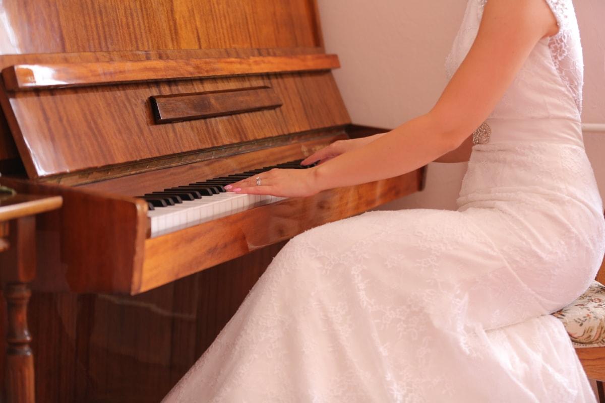 신부, 드레스, 음악가, 피아니스트, 예쁜 소녀, 앉아, 피아노, 음악, 룸, 악기