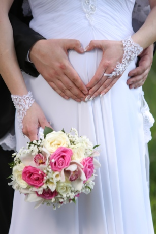 la mariée, jeune marié, amour, mariage, grossesse, mariage, arrangement, bouquet, engagement, romance