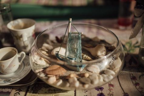 decorative, interior decoration, miniature, still life, summer season, table, cup, food, cutlery, tea