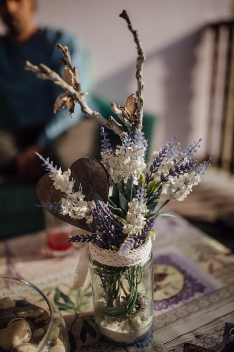 vakre blomster, håndlaget, interiør, interiørdesign, lavendel, blomst, fortsatt liv, vase, folk, dekorasjon