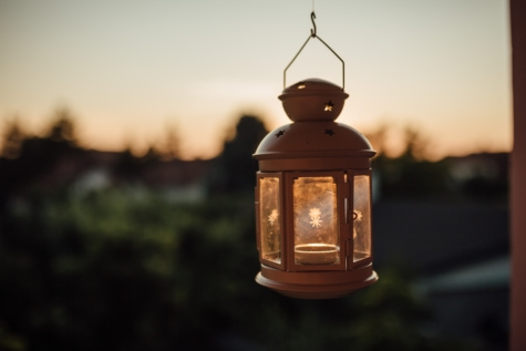 здрач, висящи, лампа, стар, фенер, светлина, Антик, традиционни, град, осветени