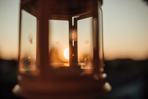 contacto directo, enfoque, lámpara, linterna, puesta de sol, sol, Mancha solar, transparente, vidrio, antiguo