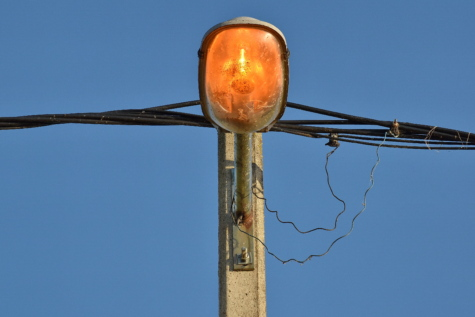 electricity, light bulb, transmission, voltage, wires, outdoors, bird, hanging, light, blue sky