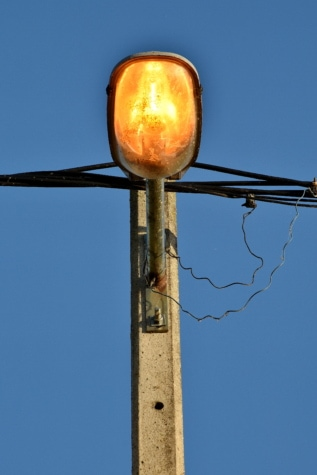 electricity, light, light bulb, metallic, outdoor, technology, voltage, wire, wires, concrete