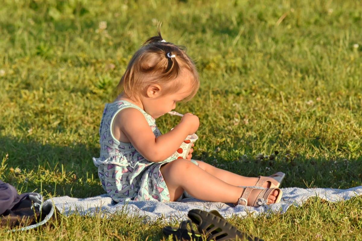 어린 시절, 잔디, 아이스크림, 따기, 예쁜 소녀, 여름 시즌, 야외, 자연, 여름, 아이
