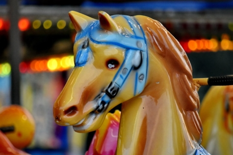 Karneval, Karussell, Zirkus, bunte, Pferd, Kunststoff, glänzend, Spielzeug, Jahrgang, Mechanismus