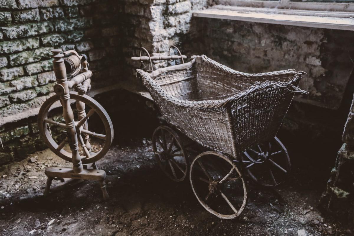 버려진, 예술적, 카트, 수 제, 인테리어, 오래 된 스타일, 빈곤, 바퀴, 휠, 차량