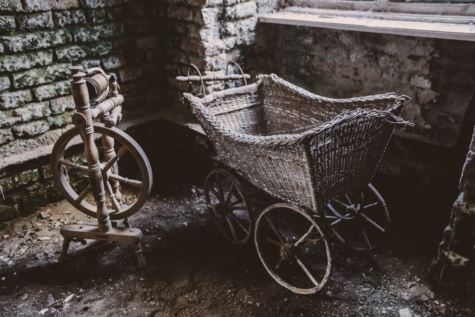 abandoned, artistic, cart, handmade, interior, old style, poverty, wheels, wheel, vehicle