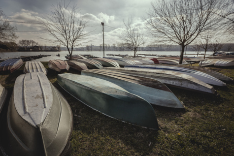 boats, coastline, lakeside, water, outdoors, river, winter, nature, lake, landscape