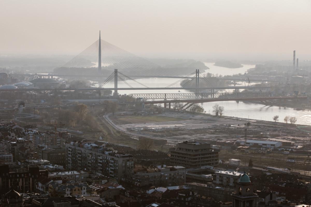 aérien, pont, bâtiments, paysage urbain, berge, océan, jetée, eau, unité, Ville