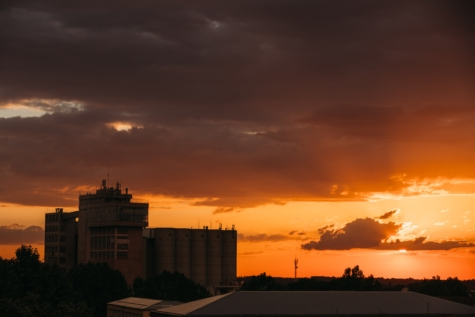 buildings, clouds, silhouette, silo, sunset, sun, atmosphere, city, sunrise, building