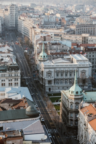 aerial, capital city, Serbia, street, city, building, architecture, outdoors, church, bridge