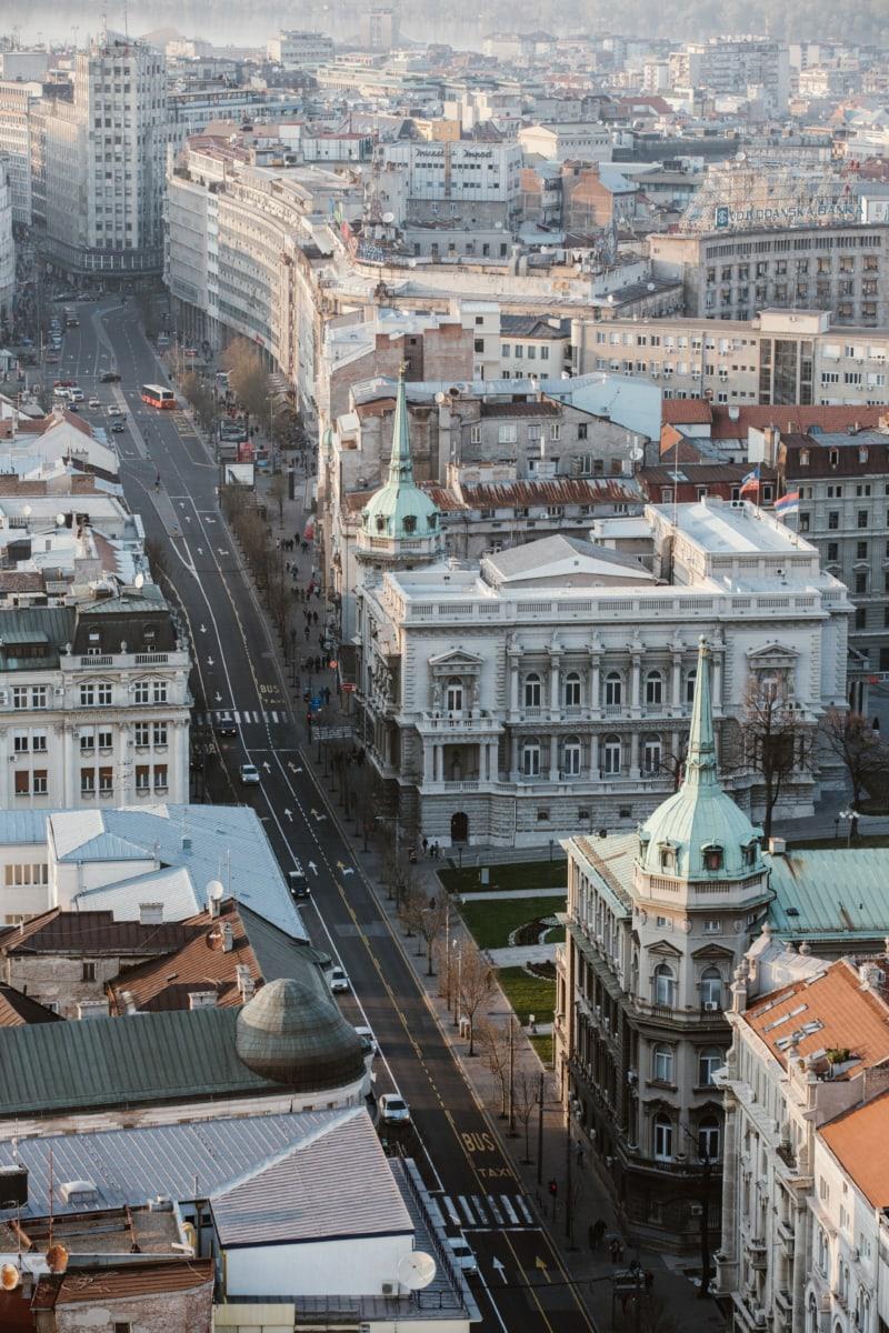 Antenne, Hauptstadt, Serbien, Straße, Stadt, Erstellen von, Architektur, im freien, Kirche, Brücke
