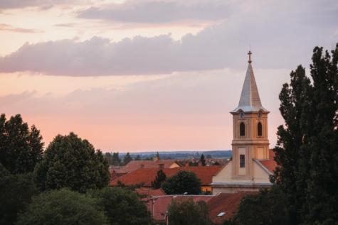 antenne, katolske, kirke, kirketårnet, skyer, solnedgang, træer, arkitektur, gamle, kloster
