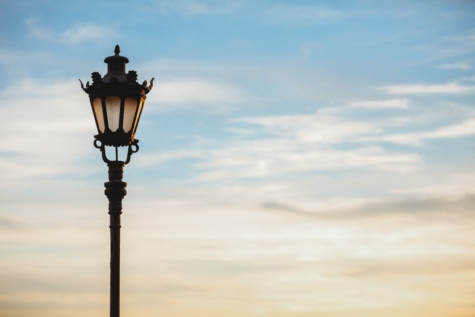 blue sky, cast iron, lamp, shadow, street, device, architecture, light, silhouette, sunset