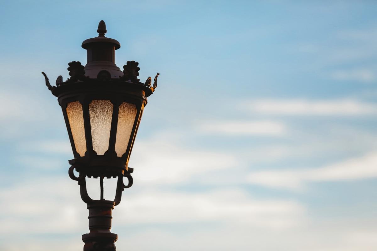 umenie, barokový, liatina, lampa, pouličné, západ slnka, Architektúra, staré, vonku, antický