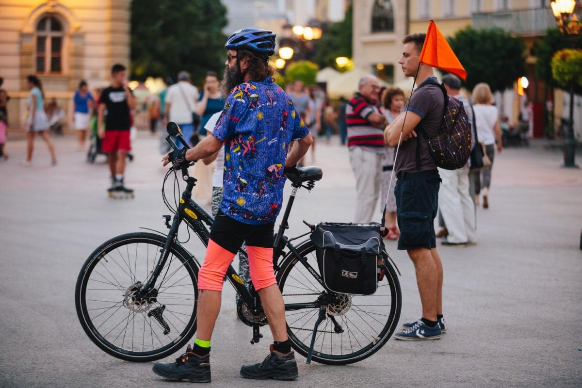 자전거, 도시 풍경, 산악 자전거, 관광, 관광, 여행자, 도, 스포츠, 거리, 사람들