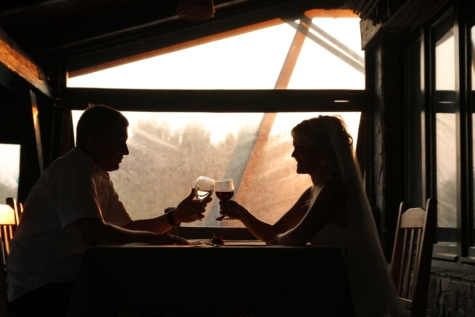 bride, enjoyment, evening, husband, love, marriage, red wine, restaurant, romantic, people