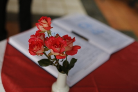 bok, ceremoni, penna, rosor, vas, dekoration, ökade, romantik, arrangemang, Kärlek