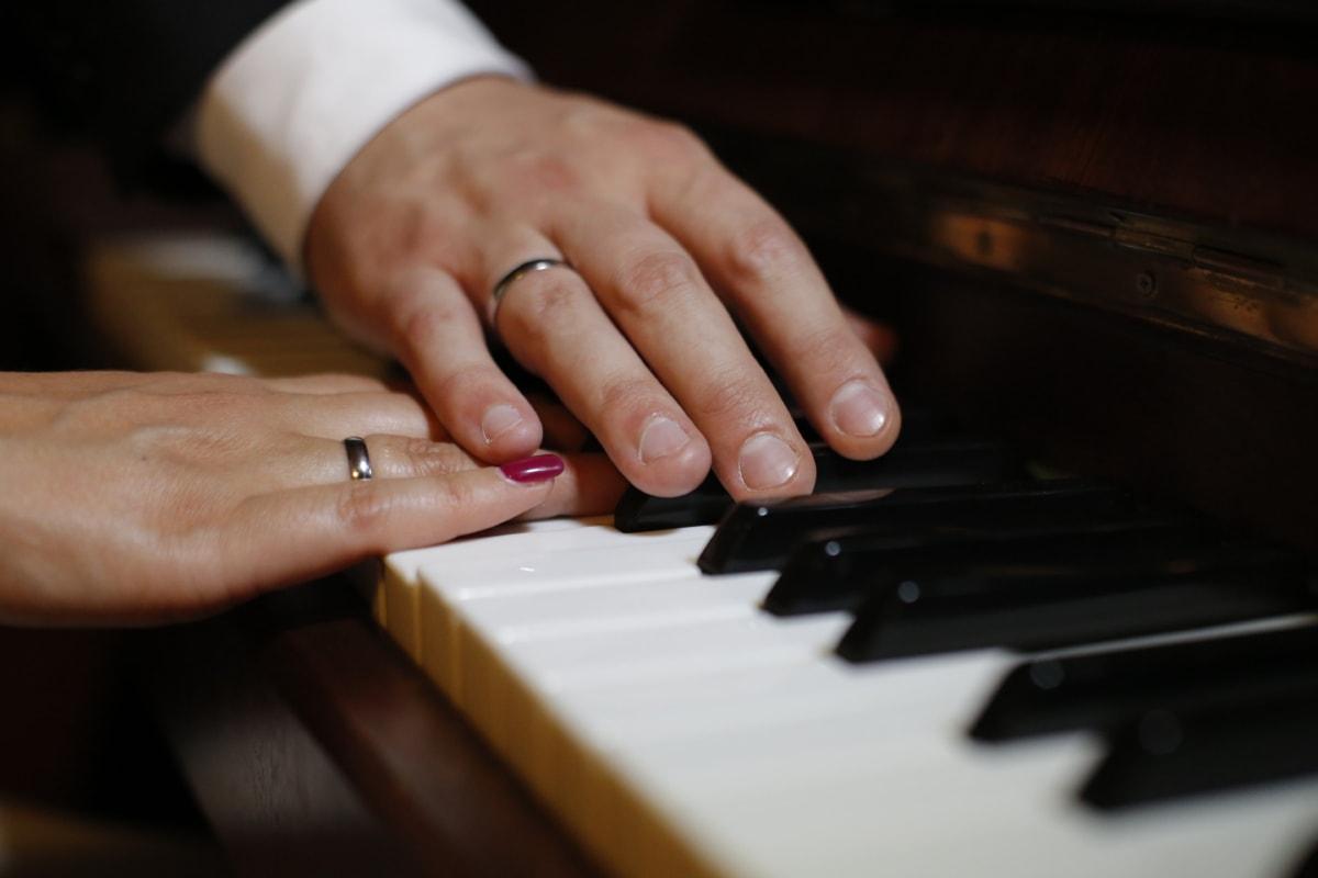 hender, romantisk, ta på, giftering, musikk, hånd, tastatur, elfenben, musiker, pianisten