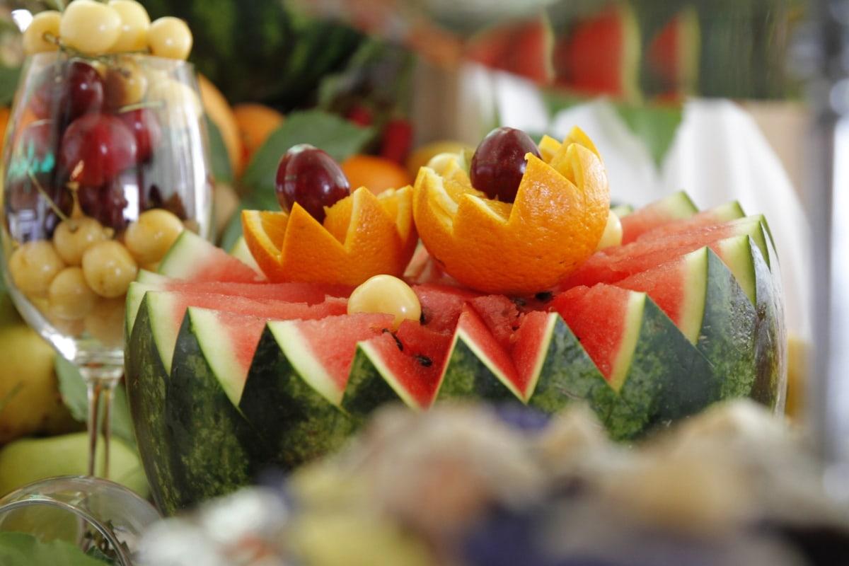 装饰, 异国, 美味, 热带, 瓜, 哈密瓜, 餐饮, 西瓜, 寿司, 晚餐