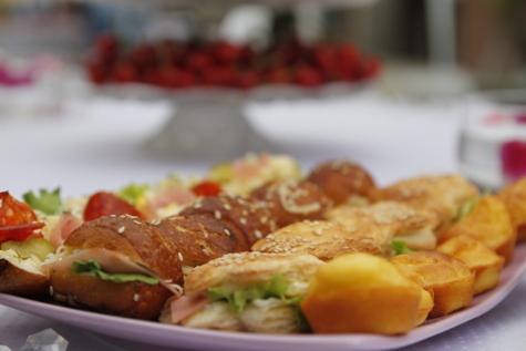 хлібобулочні вироби, мініатюрні, сендвіч, смачні, їжі, їжа, плита, рослинні, обід, томатний