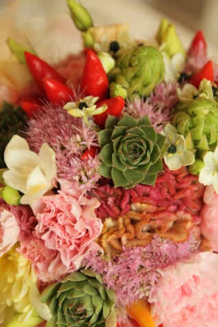 bukett, färgglada, dekoration, arrangemang, naturen, bröllop, blomma, romantik, blad, ökade