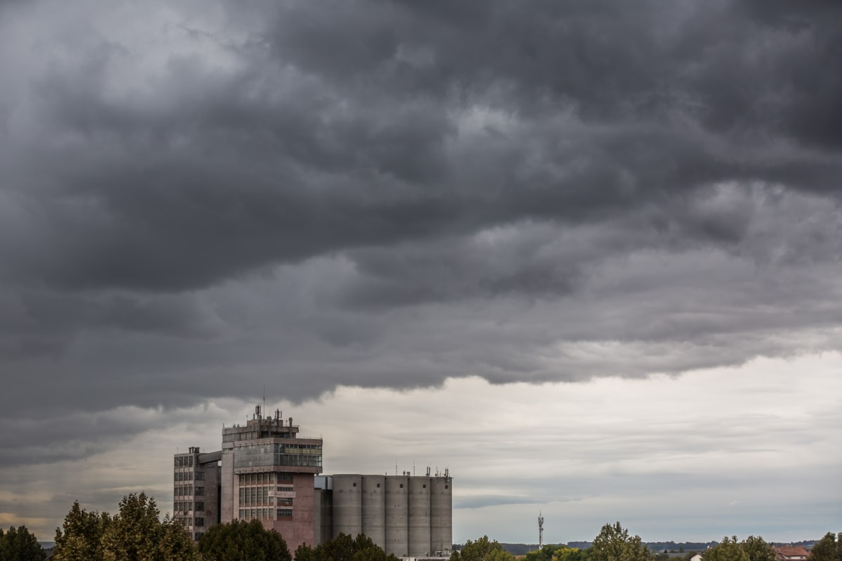 bad weather, buildings, cloudy, distance, silo, urban, architecture, building, skyline, storm