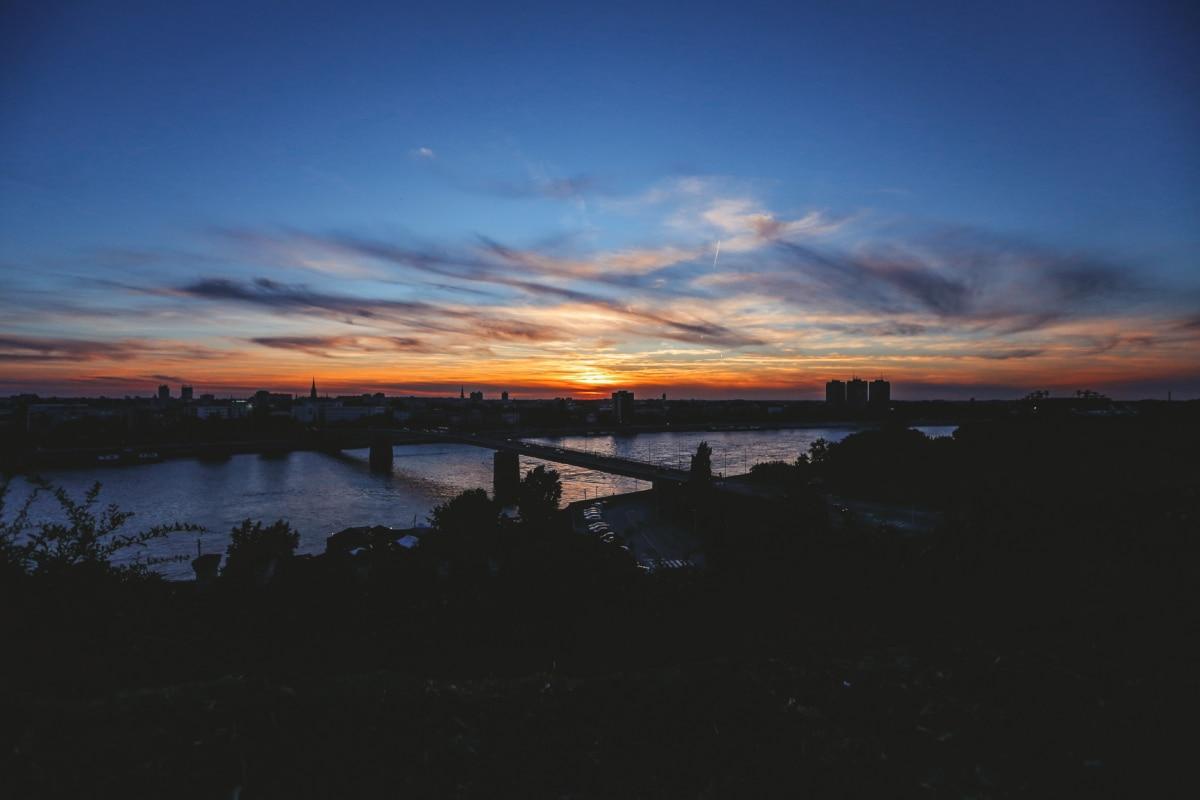 silta, Kaupunkikuva, yö, auringonnousu, Twilight, rantaviiva, maisema, ranta, pilvet, auringonlasku