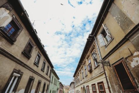Erstellen von, alt, alten Stil, Perspektive, Straße, Stadtregion, Turm, Stadt, Architektur, Fassade