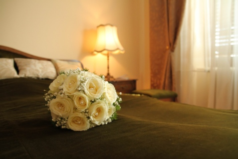 bedroom, bouquet, cushion, hotel, lamp, windows, decoration, flower, rose, still life