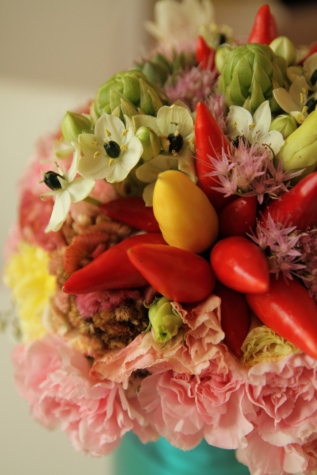 colorat, floare mugur, decoraţiuni interioare, vaza, legume, buchet, proaspete, aranjament, decor, frunze