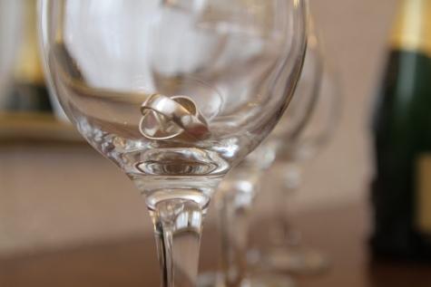 Champagne, cristallo, vetro, Oro, anelli, matrimonio, anello di nozze, liquido, bevande, bere