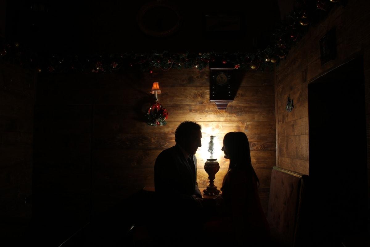 christianity, evening, love, man, romantic, room, shadow, togetherness, woman, lighting